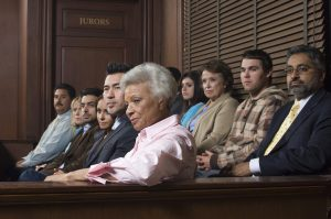 jurors in witness stand of court house
