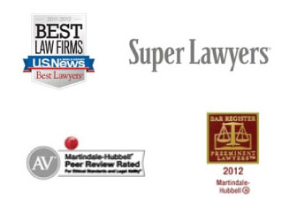 U.S. News best law firms, Super Lawyers, Martindale-Hubbell Peer Review Rated, 2012 Bar Register Prominent Lawyers